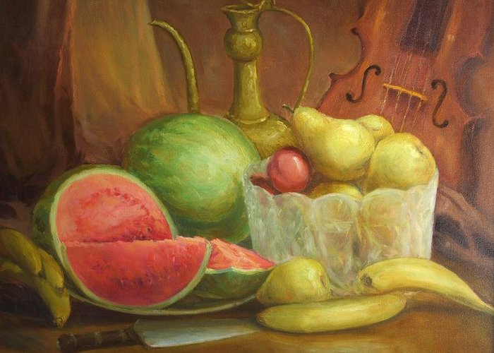 Still Life Greeting Card featuring the painting Melody With Fruits by Michael Chesnakov