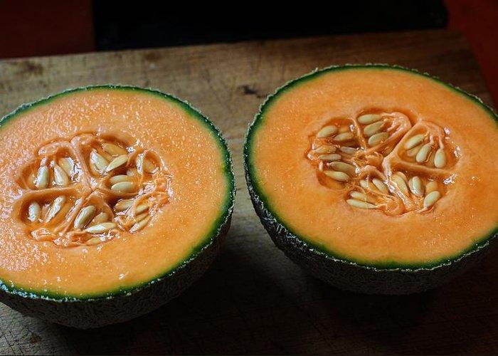 Garden Greeting Card featuring the photograph Melon Halves by Scott Carlton