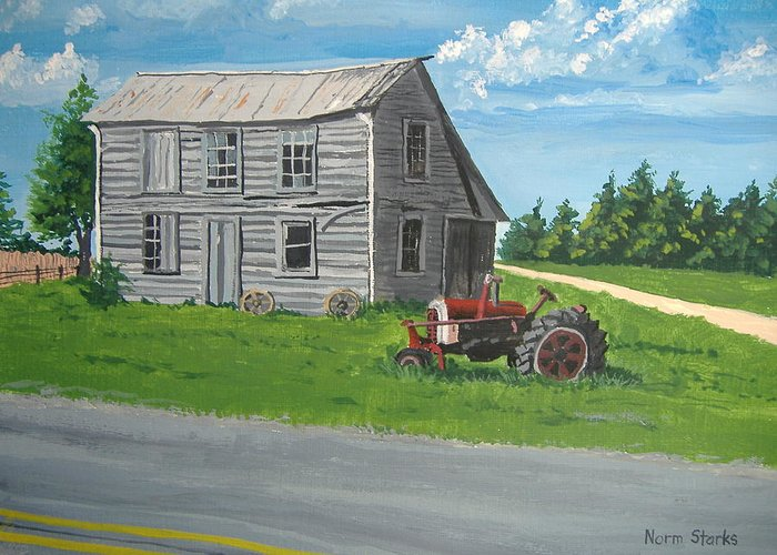 Farmhouse Greeting Card featuring the painting Memories... by Norm Starks