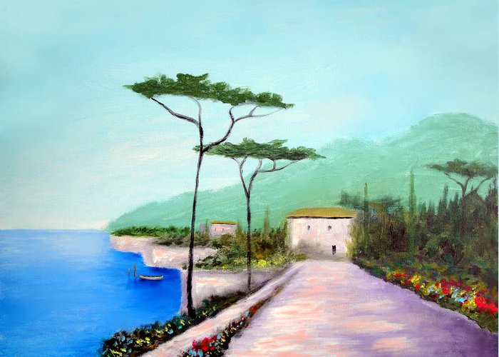 Lake Como Greeting Card featuring the painting Memories Of Lake Como by Larry Cirigliano