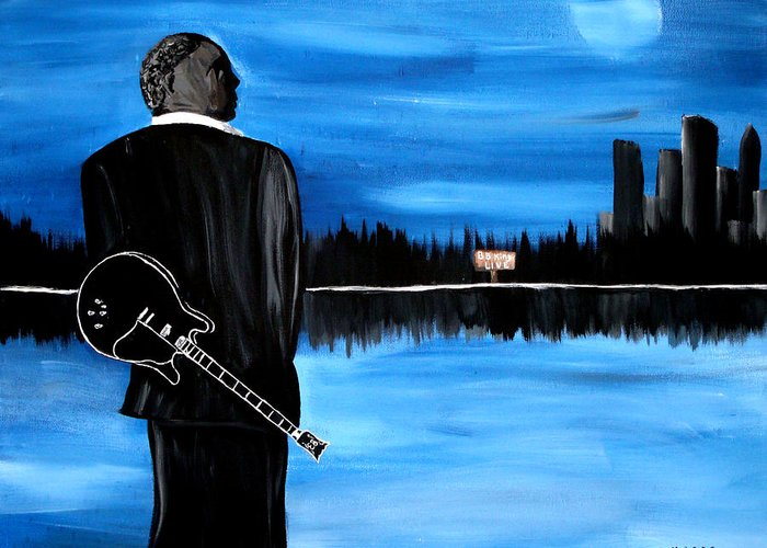 Mark Greeting Card featuring the painting Memphis Dream With B B King by Mark Moore