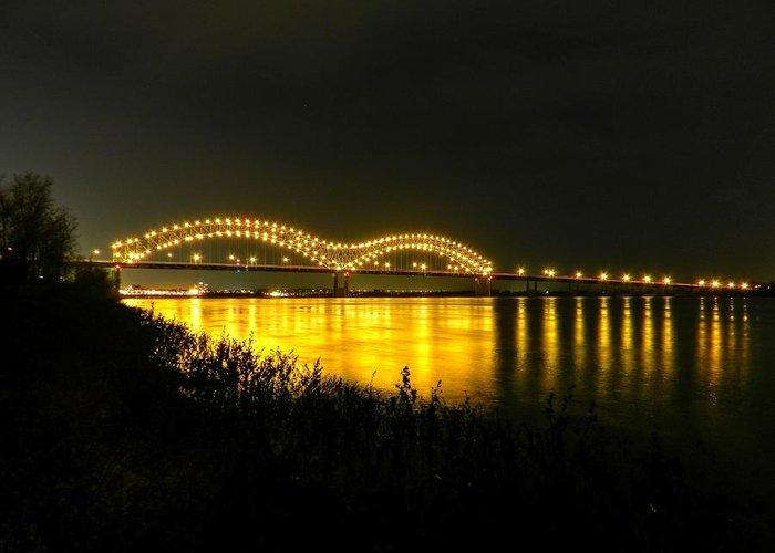 Memphis Tn Greeting Card featuring the photograph Memphis - Hernando De Soto Bridge 001 by Lance Vaughn