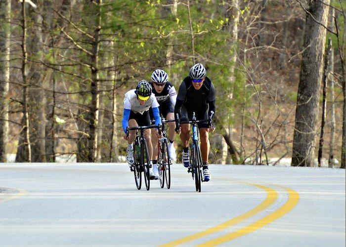 Sport Greeting Card featuring the photograph Men In A Bike Race by Susan Leggett