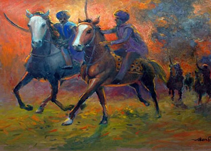 Warrior Greeting Card featuring the painting Men In Defence by Prosper Akeni