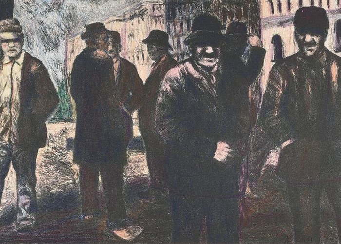 Men Greeting Card featuring the drawing Men In Yellow Light by Kendall Kessler