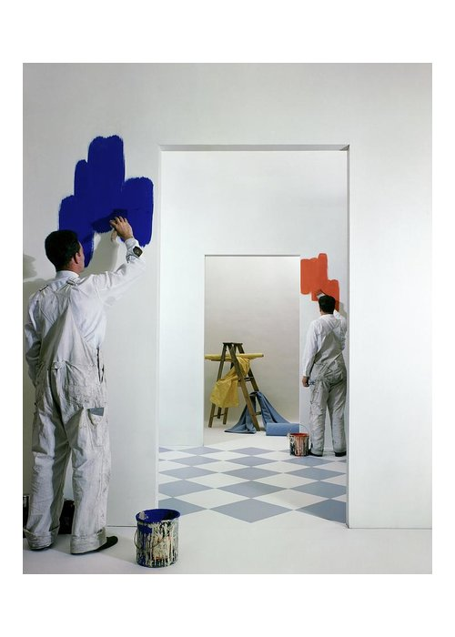 Interior Greeting Card featuring the photograph Men Painting Walls by Herbert Matter