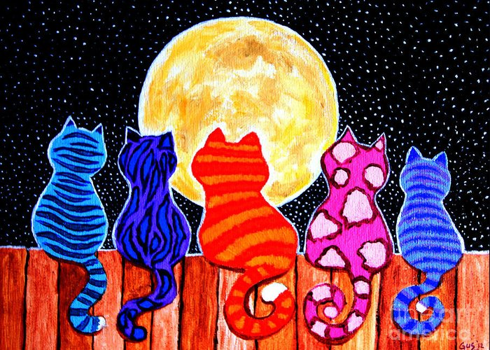 Cats Greeting Card featuring the painting Meowing At Midnight by Nick Gustafson