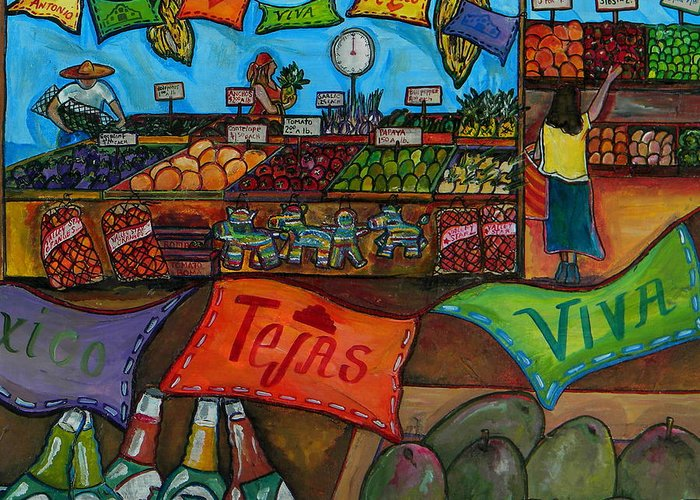 Farmers Market Greeting Card featuring the painting Mercado Mexicana by Patti Schermerhorn