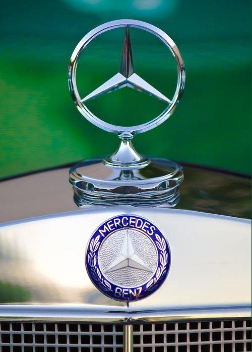 Mercedes Benz Hood Ornament Greeting Card featuring the photograph Mercedes Benz Hood Ornament 3 by Jill Reger