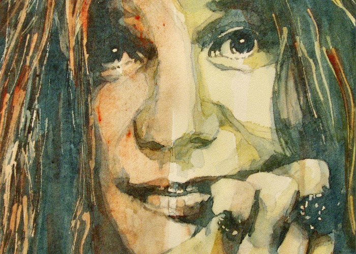 Janis Joplin Greeting Card featuring the painting Mercedes Benz by Paul Lovering
