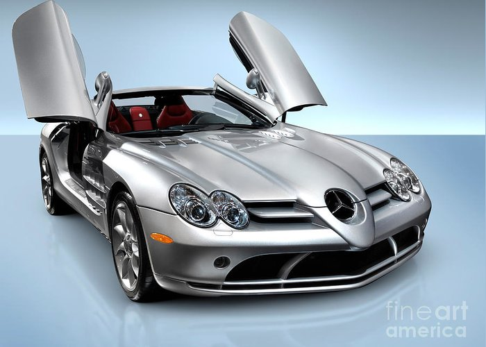 Mercedes Greeting Card featuring the photograph Mercedes Benz Slr Mclaren by Maxim Images Prints