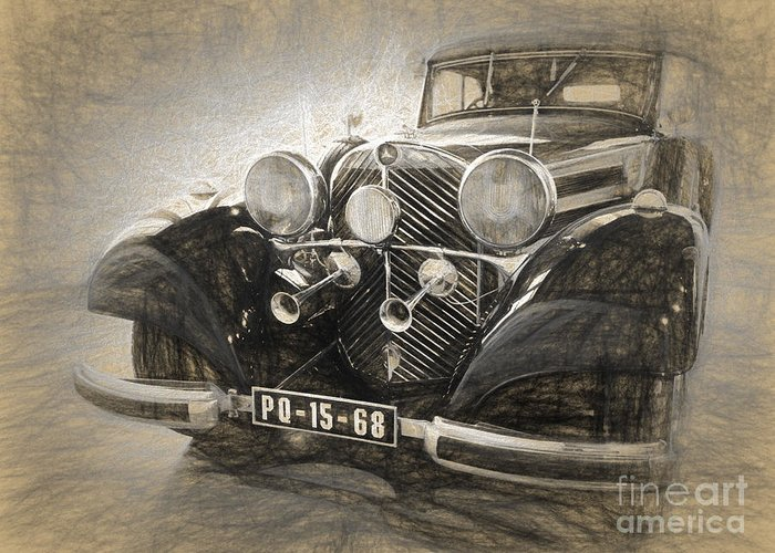 Mercedes Greeting Card featuring the digital art Mercedes Benz Vintage by Perry Van Munster