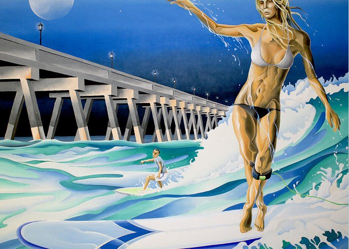 Surfing Greeting Card featuring the painting Mercers Surfer by William Love