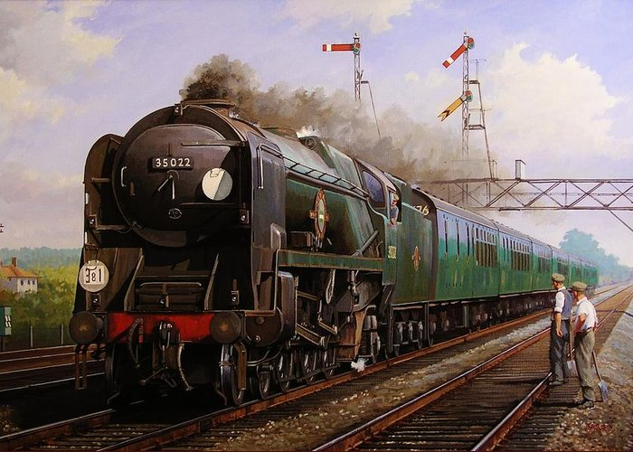 Steam Greeting Card featuring the painting Merchant Navy Pacific At Brookwood. by Mike Jeffries