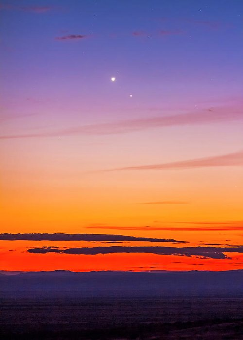 2015 Greeting Card featuring the photograph Mercury & Venus Conjunction Closeup by Alan Dyer
