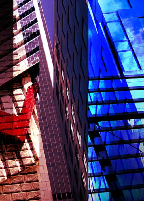 Merged Greeting Card featuring the photograph Merged - City Blues by Jon Berry OsoPorto