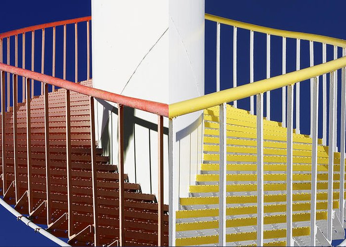 Red Greeting Card featuring the photograph Merging Steps by Robert Woodward
