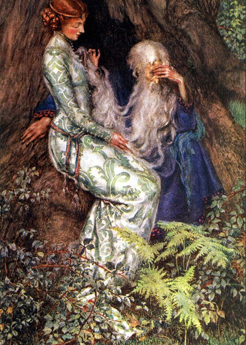 Old Masters Greeting Card featuring the digital art Merlin And Vivien by Eleanor Fortescue Brickdale