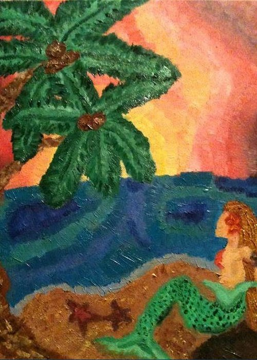 Mermaid Greeting Card featuring the painting Mermaid Beach by Oasis Tone