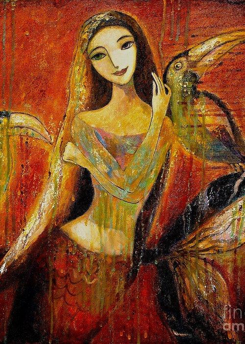 Mermaid Art Greeting Card featuring the painting Mermaid Bride by Shijun Munns
