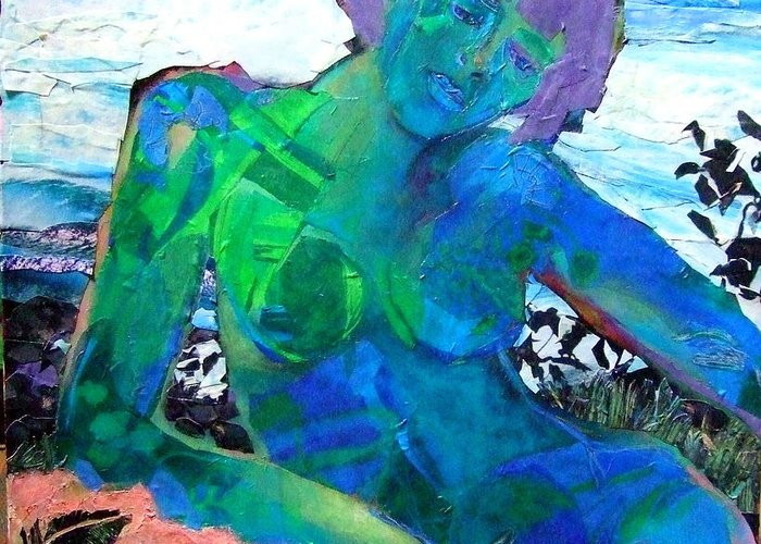 Mixed Media Nude Greeting Card featuring the mixed media Mermaid by Diane Fine