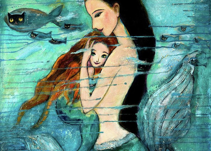 Mermaid Art Greeting Card featuring the painting Mermaid Mother And Child by Shijun Munns