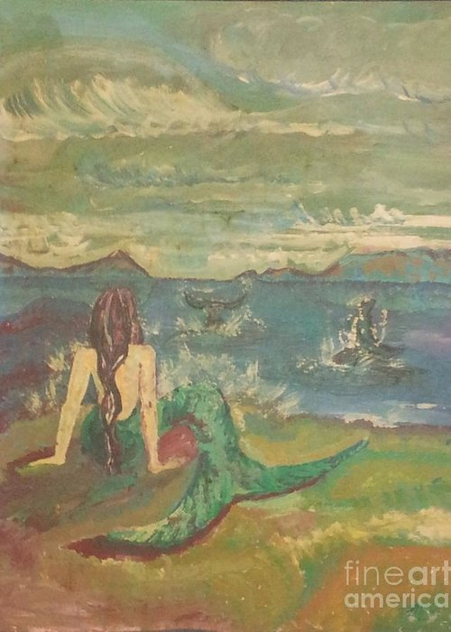 Mystical Greeting Card featuring the painting Mermaid Mysti by Mysti Popplewell