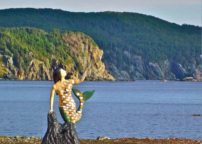 Mermaid On A Dock Along Twillingate Harbour Greeting Card featuring the photograph Mermaid On A Dock In Twillingate Harbour-nl by Ruth Hager