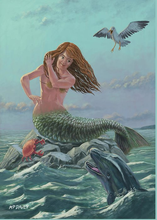 Mermaid Greeting Card featuring the painting Mermaid On Rock by Martin Davey
