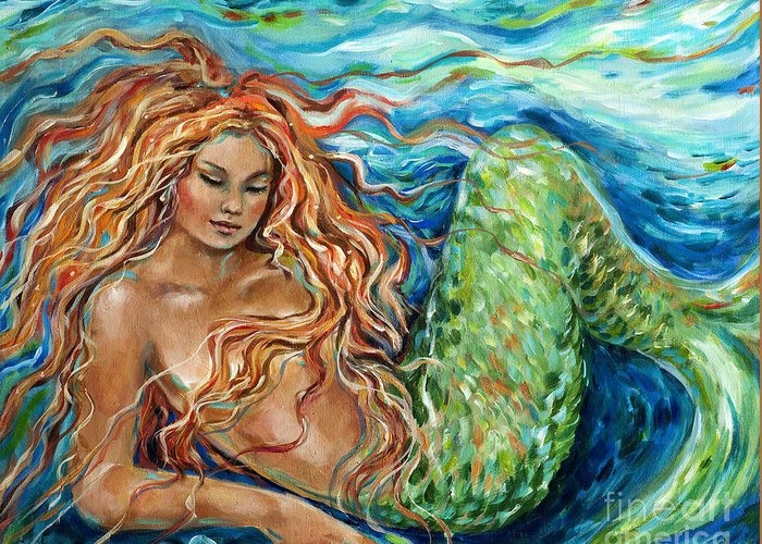 Mermaid Greeting Card featuring the painting Mermaid Sleep New by Linda Olsen
