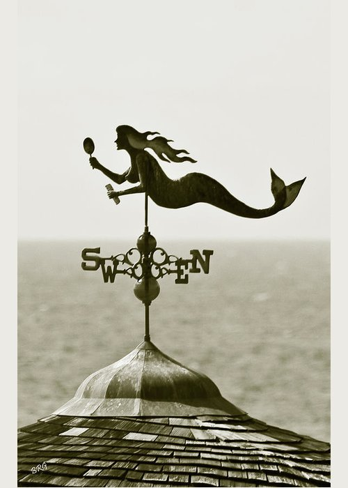 Mermaid Greeting Card featuring the photograph Mermaid Weathervane In Sepia by Ben and Raisa Gertsberg