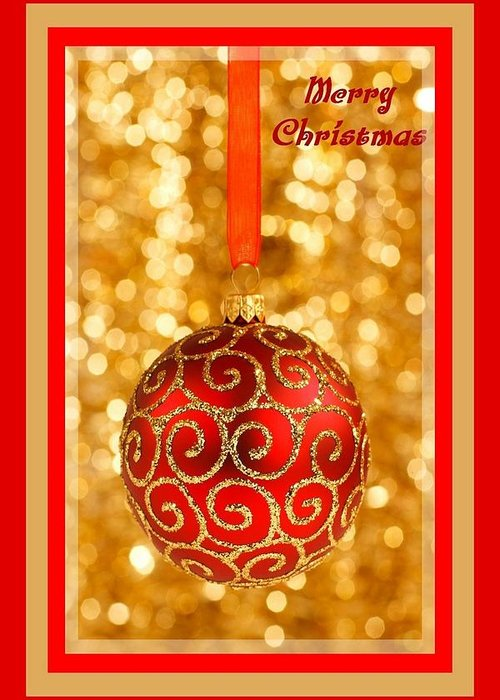 Merry Christmas Bauble On Gold With Red And Gold Border Greeting Card For Sale By Taiche Acrylic Art