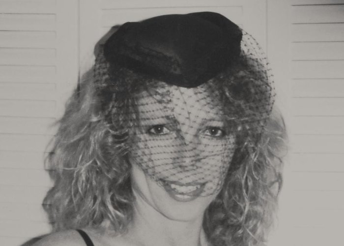 #glamour #model Shot Of Myself With Silk Hat And Net Over Face. I Love The Black And White Special Effect And The Nice #smile Greeting Card featuring the photograph Beautiful Blue Eyed Belinda by Belinda Lee