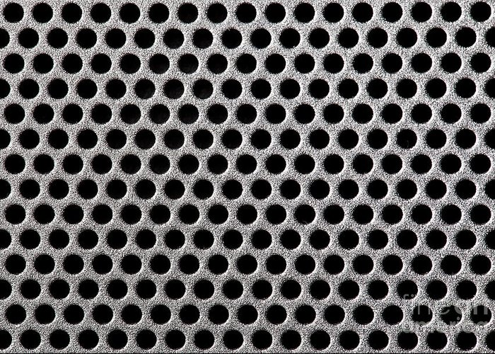 Abstract Greeting Card featuring the photograph Metal Grill Dot Pattern by Simon Bratt Photography LRPS