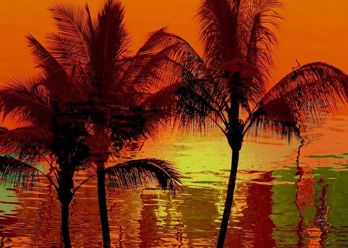 Sunset Greeting Card featuring the photograph Metallic Sunset by Athala Carole Bruckner