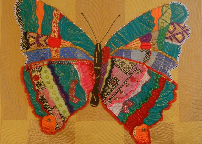 Butterfly Greeting Card featuring the tapestry - textile Metamorphosis by Aisha Lumumba