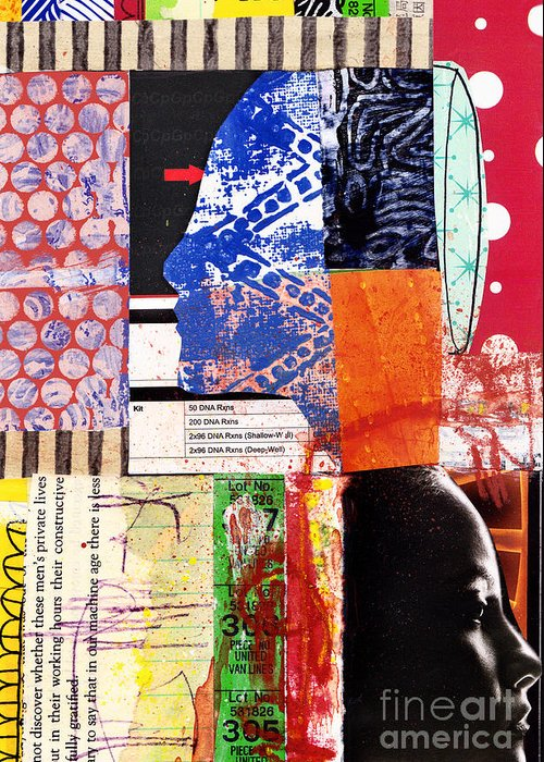 Collage Greeting Card featuring the mixed media Metamorphosis by Elena Nosyreva