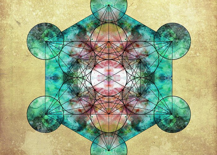 Metatron Greeting Card featuring the digital art Metatron's Cube by Filippo B