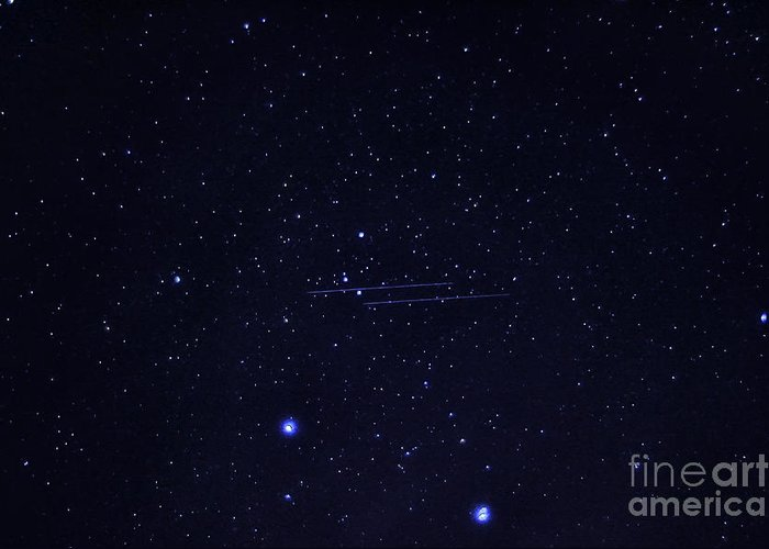Meteor Greeting Card featuring the photograph Meteors And Stars by Thomas R Fletcher