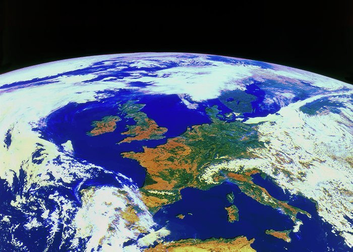 Meteosat Imagery Greeting Card featuring the photograph Meteosat Image Of Europe by Esa/kevin A Horgan/science Photo Library