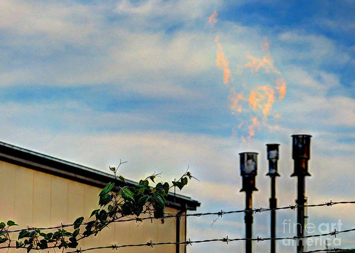 Mj Olsen Greeting Card featuring the photograph Methane Flares by MJ Olsen