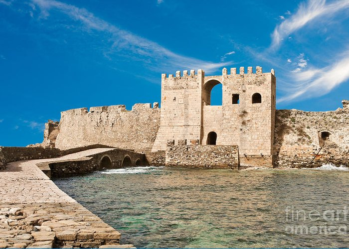 Methoni Greeting Card featuring the photograph Methoni Venetian Fortress by Gabriela Insuratelu