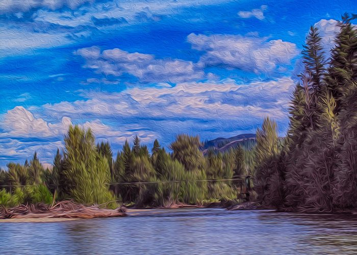 North Cascades Greeting Card featuring the photograph Methow River Crossing by Omaste Witkowski