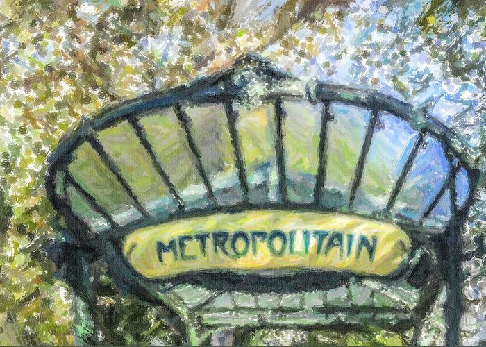Metropolitain Greeting Card featuring the digital art Metro Abbesses by Liz Leyden