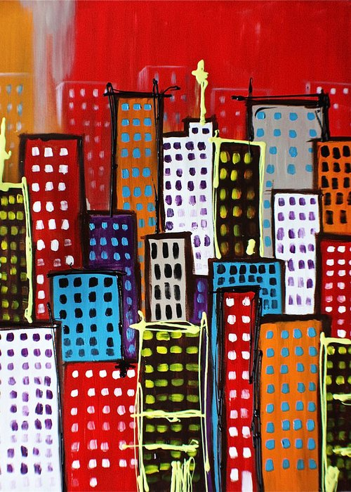 Abstract Greeting Card featuring the painting Metropolis by Lisa McLean Adams