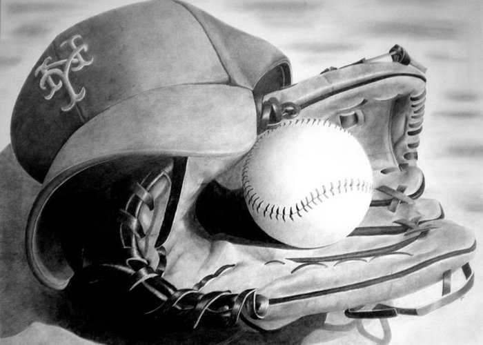 Baseball Glove Drawings Greeting Cards