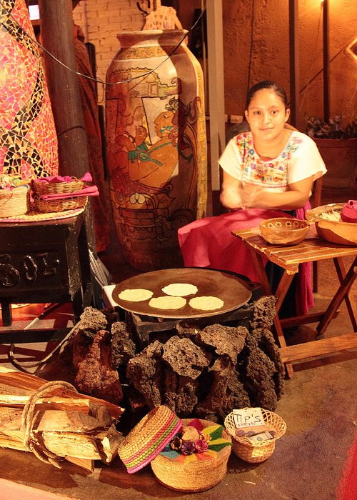 Mexican Greeting Card featuring the photograph Mexican Girl Making Tortillas by Roupen Baker