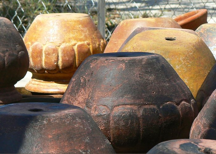 Pots Greeting Card featuring the photograph Mexican Pots Vi by Scott Alcorn