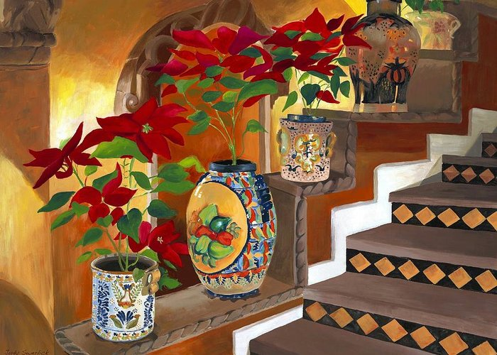Mexican Pottery Greeting Card featuring the painting Mexican Pottery On Staircase by Judy Swerlick