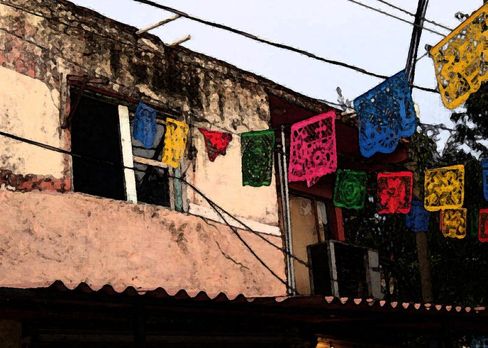 Mexico Greeting Card featuring the photograph Mexican Street by Robin Stout